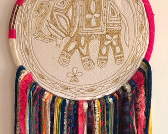 Large Dreamcatcher - elephant, colorful/gold (16in)