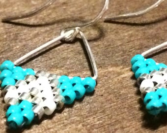Turquoise Beaded sterling silver triangle earrings