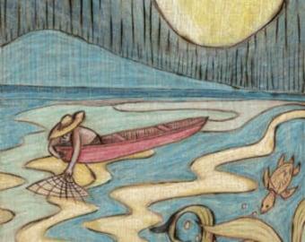 Fisherman, sea life, beach, Art Print, Ready to Hang, Canvas, 10x20