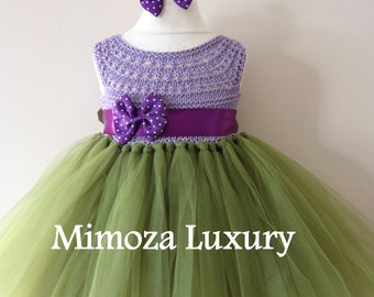 Lilac and olive birthday dress, 1st birthday dress, 2nd birthday dress, fairy princess dress, crochet top tulle dress, olive tutu dress