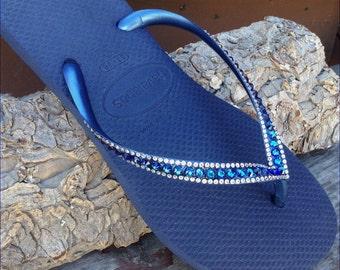 5c83a28ec9ba49 Havaianas Slim Flip Flops Navy Blue Bermuda Ocean Sea w  Swarovski Crystal  Sophisticate Wedding Sandals