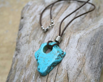 Turquoise Slab Necklace, Boho Necklace, Turquoise Necklace, Boho Turquoise Necklace, Chunky Turquoise Necklace, Boho Jewelry, Gift for Her