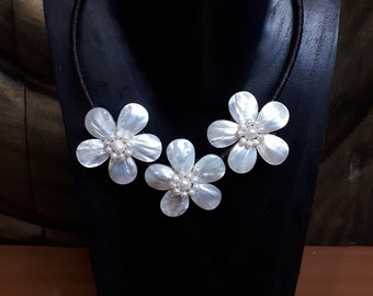 Triple Pearl and Shell Flower Necklace