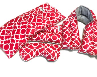 Heat Therapy - MICROWAVE HEATING PAD  - Spa gift set - Extra long Neck wrap, Lumbar and eye pillow, Large Flax pad - Christmas gift idea