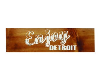 Enjoy Detroit Reclaimed Wood Sign