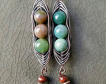 Peas in a Pod Turquoise Bead Copper Wire Wrapped Earrings