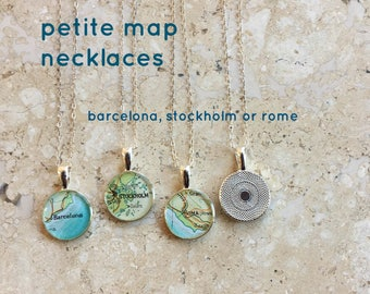 Map Necklace Barcelona, Stockholm or Rome (Roma) Sterling Silver Chain