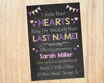 Adoption Invitation Girl PRINTABLE. adoption party invitation. invite DIGITAL stole their hearts stealing their last name