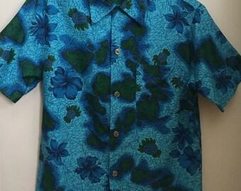 1950's Mint Condition Royal Hawaiian Cotton Shirt/Island & Floral Green/Blue/Gold Print