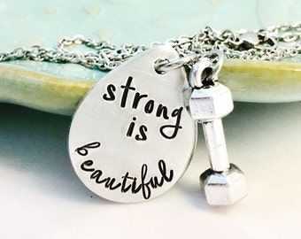 Strong is beautiful ~ Hand Stamped ~ Fitness Jewelry ~ Barbell Necklace ~ Weight Lifting Style ~ Affirmation ~ Motivation ~ Swole Sister