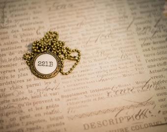 221B Baker Street- Sherlock's Address Pendant and Chain Necklace