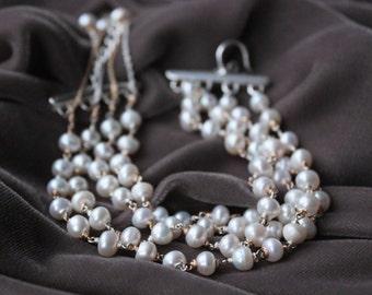 Cream Pearl Bracelet - Multi Strand Bracelet - Fresh Water Pearl-Mixed Metal - Fine Jewelry - Wedding Jewelry