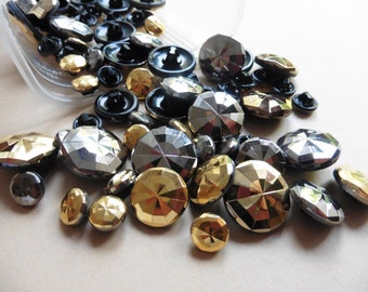 24 vintage glass buttons 11mm-22mm 60 Silver Gold MiX box5