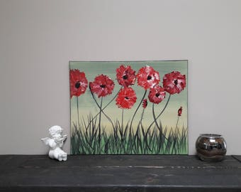 Flower Painting Original Red Flowers Modern  acrylic Art Palett Knife Painting Unique Art One Of A Kind Wall Art Great Gift