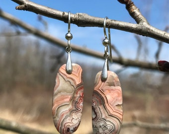 Crazy Lace Agate, sterling silver, earrings