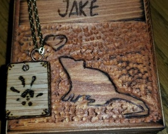 Personalized Rat Jewelry Box and Paw Print Necklace Combo