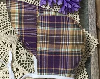 Purple Plaid Bonnet ~ Plaid ~ Bonnet with Brim ~ Brimmed Baby Bonnet ~ Plaid Bonnet ~ Lined Sunhat ~ All Sizes ~ Brimmed ~ Bonnet