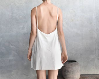 White Slip Dress, 100% Organic Cotton, Low Back, Mini Dress, Casual, Singlet