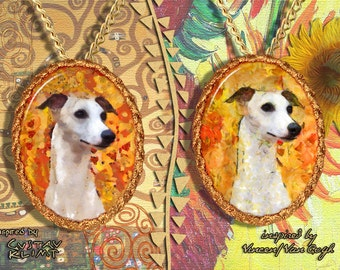 Whippet Jewelry Pendant - Brooch Handcrafted Porcelain by Nobility Dogs - Gustav Klimt and Van Gogh