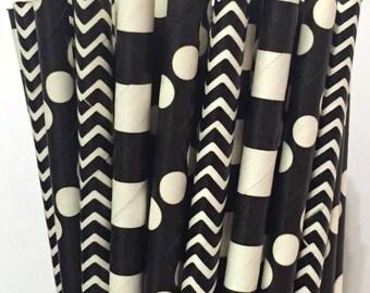 2.85 US Shipping -Black Paper Straws - Black and White Straws - Black Cake Pop Sticks - Drinking Straws