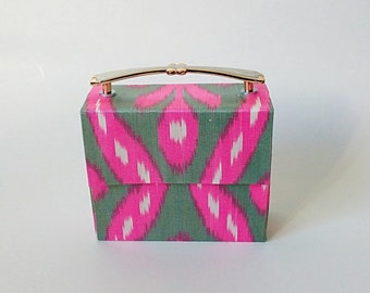 Ikat clutch with metal handle & chain