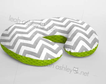 Boppy® Cover, Nursing Pillow Cover - Gray Chevron MINKY with Lime Green MINKY Dot or MINKY Smooth - Choose Your Minky Type - BC2