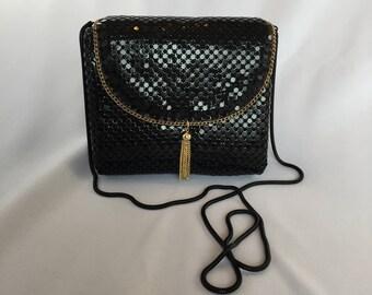 Vintage, Black and Gold Mesh Evening Bag/ Clutch. Square/Hardbody