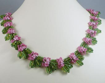 Woven Floral Necklace Rose and Green