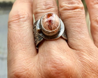 Mexican fire opal ring, sterling silver and 22k gold.