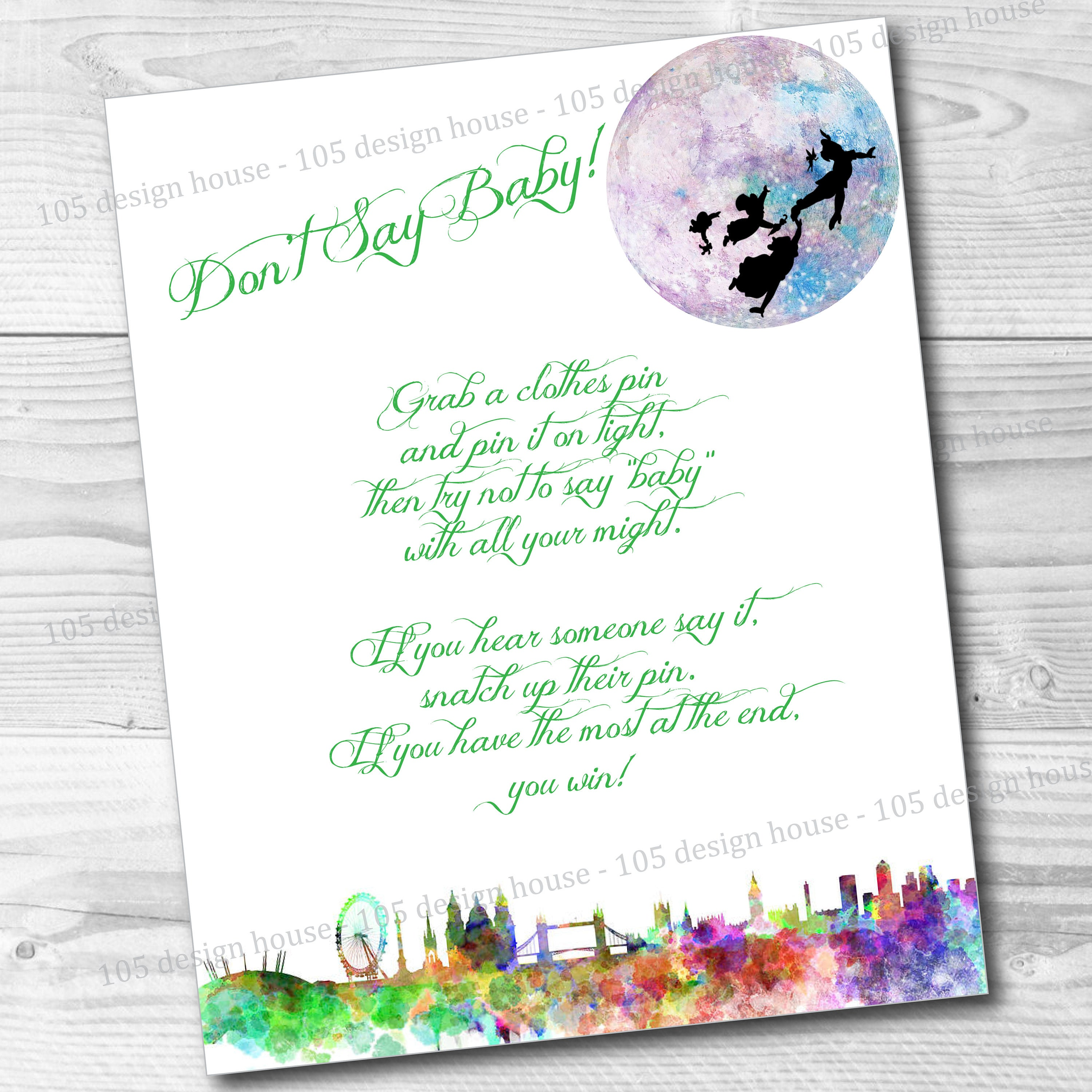 INSTANT DOWNLOAD Peter Pan Baby Shower Clothes Pin Game