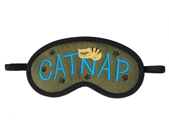 Cat Sleep Mask, Catnap blindfold, Cat lover gift, Army green sleeping eye mask, Animal sleepmask paw embroidery, Teal green beige tiger