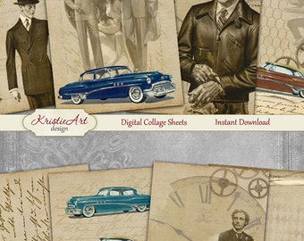 75% OFF SALE Vintage Steampunk - Digital Collage Sheet Digital Cards C150 Printable Download, Men, Husband, Friend, Atc Card ACEO Vintage