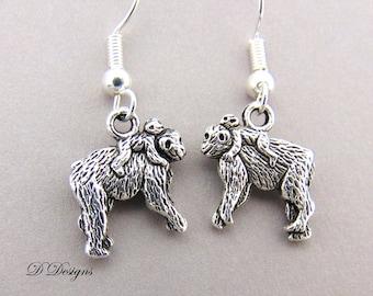 Monkey Earrings Sterling Silver