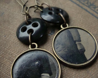 Victorian Tintype and Antique Black Button earrings - Those Hands No. 002
