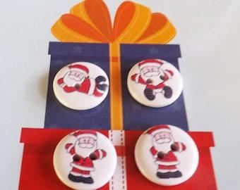 20 Santa buttons Santa Claus buttons wooden Christmas buttons