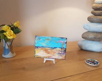 Mini miniature abstract painting on easel. Ideal alternative to a greetings card!
