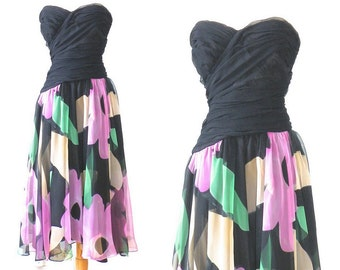 50s Inspired Dress, 1980s does 1950s Dress, Strapless Floral Chiffon Prom Dress, Sweetheart Dress, Saks Fifth Avenue S - M