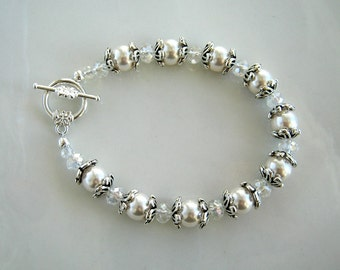 Clear Crystal Antique Silver and Swarovski White Pearl Bracelet