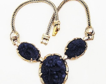 Lapis Blue Glass Carved Floral Necklace Looks Like Selro