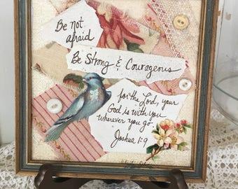 Inspirational Art / Get Well Gift / mixed media / Collage / Friendship / Bible quote / Christian / bird lover / be not afraid / handmade art