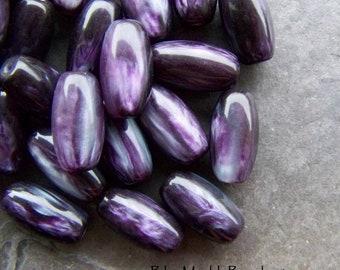 Purple Bead, Vintage Bead, Lucite Bead, Oval Bead, Luminous, Marble Bead, Boho Bead, Boho Charm, Bohemian Bead, Unique Bead, 12