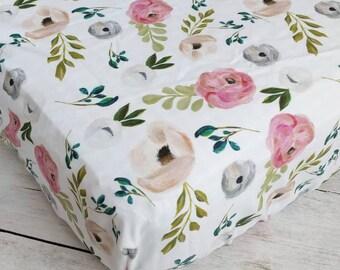 Navy and Blush Floral Crib Sheet