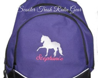 FREE SHIPPING - Andalusian Horse   Personalized Monogrammed Backpack Book Bag school tote  - NEW
