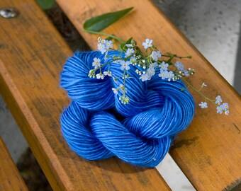 handspun blue mulberry silk single