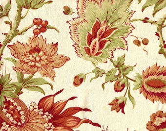 Lovely Green and Coral Floral Decorator Fabric / 100% cotton / 1 yard