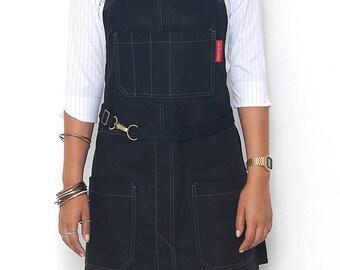 No-Tie Apron - Coated Blackout Denim - Black Leather - Split-Leg
