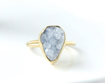 Blue Druzy Ring, Druzy Ring, Crystal Ring, Gold Band Ring