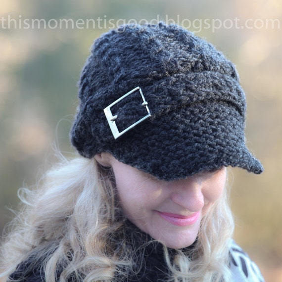 Loom Knit Newsboy Cap With Mock Cables And Buckle Pattern Stylish