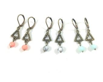 Triangle Earrings, Dangle Triangle Earrings, Triangle Drop Earrings, Tiny Drop Earrings, Tiny Dangle Earrings Boho Jewelry Geometric Jewelry
