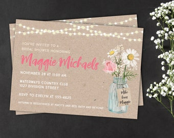 Mason jar bridal shower invitation - daisy mason jar bridal shower invitation - wedding shower invitation